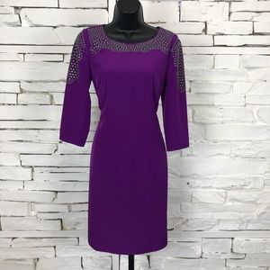 Antonio Melani Long Sleeve Mesh Studded Dress 1956